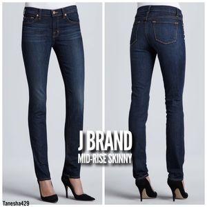 • Mid-Rise Skinny Jeans in Dark Vintage Wash •